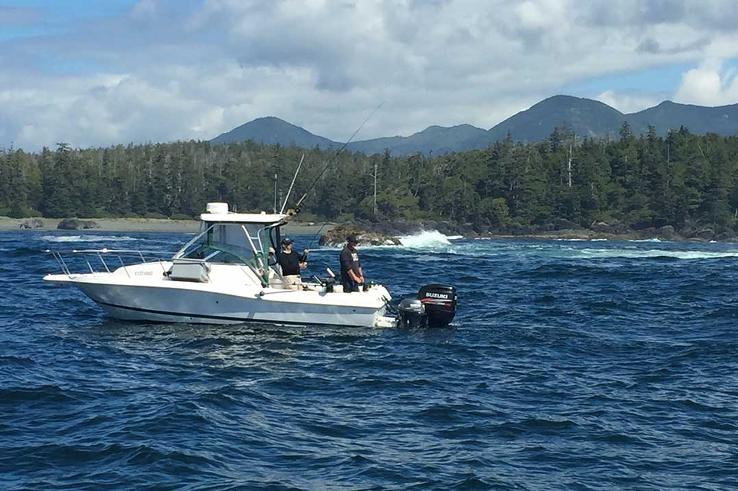 Fishing charter boat off the coast of Ucluelet, Vancouver Island