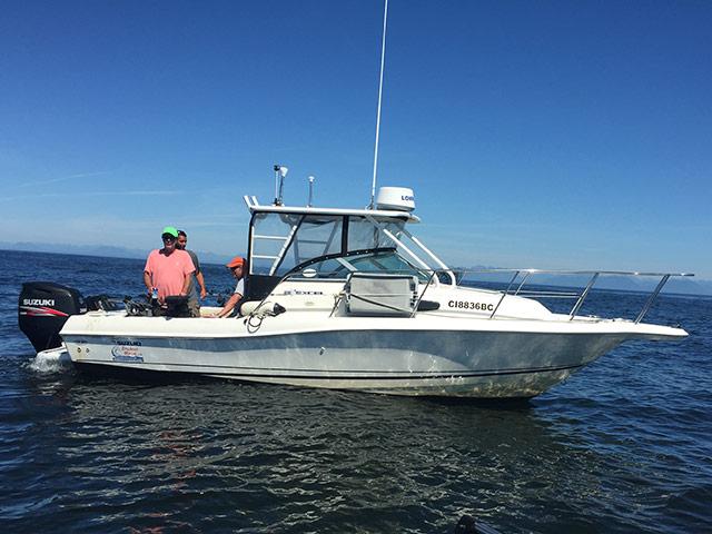 Fishing charter boat in ocean